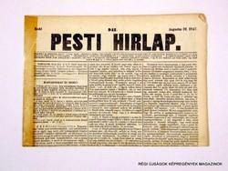1847 augusztus 31  /  Pesti Hirlap 1. Kiadás  /  Régi ÚJSÁGOK KÉPREGÉNYEK MAGAZINOK Szs.:  8705