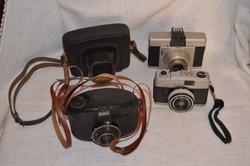 3 db régi fényképezőgép és 1 db tok