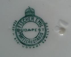 Hibátlan Fischer Emil Császári és királyi udvari szállító porcelángyáros tálka, Budapest.