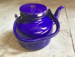 Régi kék zománc nagy teás kanna és ajándék kis kanna