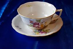 HBC mintás Herendi. 1db. rózsa dekoros teás-kávés csésze 1950-es évek,csészeljjal.Pici sérüléssel.