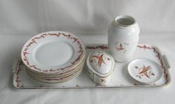 Régi Zsolnay porcelán süteményes vagy szedvicses készlet + váza bonbonier tálka