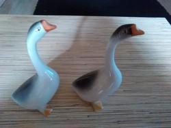 Hollóházi porcelán kézzel festett liba páros