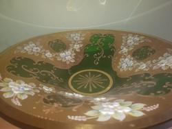 Aranyozott kézzel festett cseh üveg kínáló tál nagy méretű
