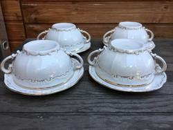 Zsolnay leveses csészék alátéttel 4 személyes
