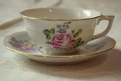 Herendi 1db. rózsa dekoros teás-kávés csésze, 1950-es évekből,1 db.csészealjjal.