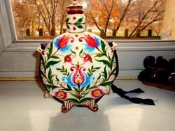 Antik 1800-as évek végéről Hollóházi díszkulacs-porcelánfajansz ,eredeti dugóval