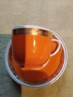 Narancssárga kávés csésze hollóházi