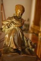 Kacsákkal kislány figurális bronz kisplasztika - XIX. század