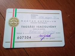 Magyar autòklub tagsàgi igazolvàny 1978