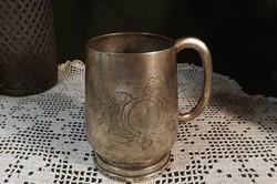 Régi ,antik ezüstözött korsó