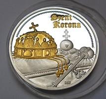 Szent korona ezüst emlékérem.