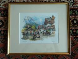 Szépséges fali kép, falusi idill, festmény vagy nyomat