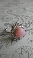 Pink opál 925 gyűrű (54)
