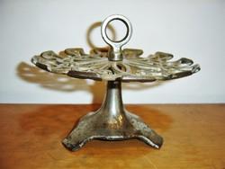 Antik nikkelezett öntöttvas asztali bélyegző / pecsétnyomó tartó