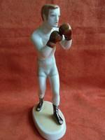 Hollóházi porcelán bokszoló figura