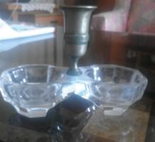 Régi patinás üveg sótartó réz fogpiszkálótartó résszel