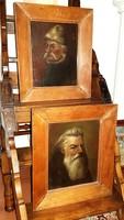Antik 1850.-körüli Orosz jelzett Portré festmény 2db párban
