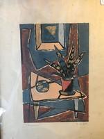 Szobabelső festmény szignóval
