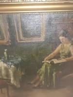Antik  festmény   nagy  méret  Pechán   József    festő