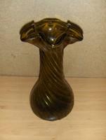 Retro borostyán fodros szélű üveg váza 24 cm (7/d)