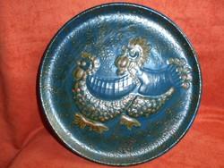 Tófej kerámia csibés fali tányér