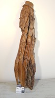 Régi faragott fa arcok. Nagyméretű faragott fa falidísz/szobor.