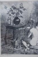 Biai-Föglein István - Akt kutyával
