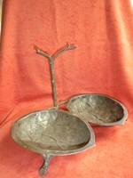 Antik dió formájú réz kínáló/asztalközép