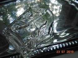 Dombor levelekkel,négyszögletes jelzett díszüveg