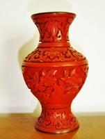 Régi kínai cinóber váza