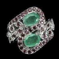 Valodi Smaragd Granat 925 Ezust Gyuru
