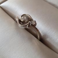 Fehérarany eljegyzési gyűrű két briliánssal
