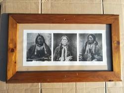 8db indiánokat ábrázoló keretezett képek