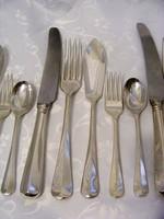 Ezüstözött, antik 30 db-os evőeszköz készlet, előétel vagy halkés, kés, villa, desszert villa, kanál