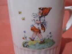 Régi Zsolnay bögre - kislány cicával, mesebögre, csésze