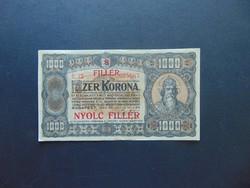 1000 korona 8 fillér Felülbélyegzés 1923