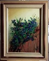 Ibolyák - Jelzett olajfestmény, 30 x 40 cm + keret