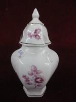 Hollóházi porcelán fedeles váza. Hófehér alapon pink színű virágmintával.