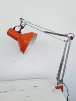 Extrém ritka remek állapotú narancssárga mérnők lámpa,olvasó lámpa loft designe