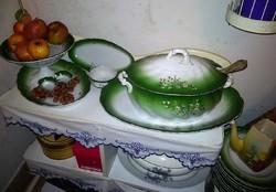 Igazi antik, nagyon régi egyedi jelöletlen étkészlet gyönyörű ezüstözött merőkanállal