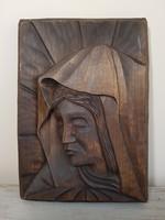 Könnyező Szűz Mária , faragott falidísz