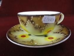 BIHL német porcelán antik teáscsésze + alátét. Krémszínű alapon sárga/barna motívummal.