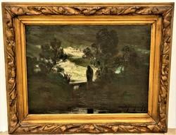 Krajna János, Moldvai ( 1875-1945 ) Éjjeli tájkép Holdtöltekor c. olajfestménye EREDETI GARANCIÁVAL