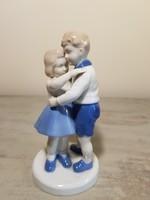 Ölelkező gyerekek. Bűbájos régi német porcelán figura páros