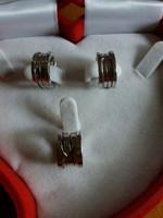 BVLGARI fehérarany rugós medál, fülbevaló szett