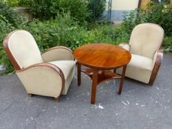 2 db Art deco fotel + asztal.