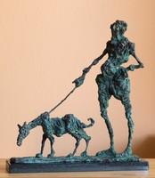 Tóth Ernő - Kutyagoló című bronz szobora, INGYEN POSTA, VISSZAVÁSÁRLÁSI GRANCIA, SZERTIFIKÁCIÓVAL!
