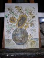 Virágcsendélet, papír, akvarell, 42 x 29 cm, keret nélkül, Lehoczky József