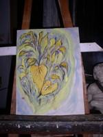Szív alakú levelek! 42 x 29 cm. akvarell, papír,keret nélkül, Lehoczky József